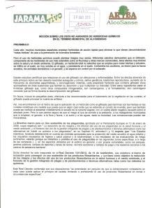 MOCION SOBRE LOS USOS NO AGRARIOS DE HERBICIDAS QUIMICOS EN EL TERMINO MUNICIPAL DE ALCOBENDAS